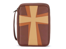 Brown and Tan Cross Thinline Leather Like Vinyl Bible Cover Case w/ Handle - $29.95