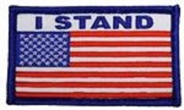 I Stand Red White Blue Flag 2 X 3 Embroidered Patch With Hook Loop - $18.04