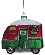 Christmas Camper Blown Glass Ornament With Glitter (Green) - $12.33