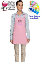 Personalized Wine Apron with Wine Tastes Work Tomorrow Embroidery Design - $22.99