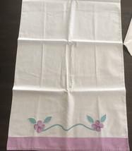 Pair of VintageApplique Pillowcases Purple/Lavender  - $11.30