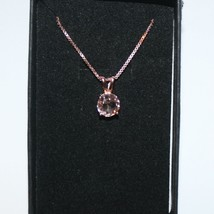 Natural Round Pink Morganite Solitaire Pendant Necklace 14k Rose Gold ov... - $73.49