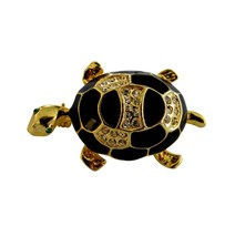 Gold Tone Enamel & Rhinestone Figural Turtle Brooch Pin - $16.00