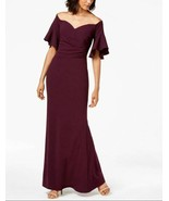 CALVIN KLEIN Women's Sweetheart Off The Shoulder Gown Aubergine Size 6 - $51.61