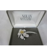 "Nolan Miller Stylish Flower Pin Brooch Crystals 3"" - $69.29"