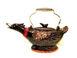Antique Japan Duck Teapot Brown Glazed Red Ware 10 inches Long Wire Handle - $24.74