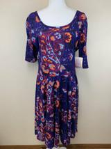 NWT Lularoe 2XL Purple Blue Orange Paisley Nicole Dress Vtg Cottony - $32.99