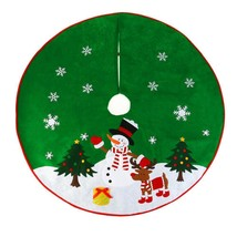 Christmas Xmas Tree Skirt Circle Snowman Pattern Base Cover Decoration Apron - $23.75
