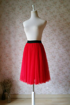 Red Elastic Waist 3 Layer Tulle Tea Length Midi Skirt, Plus Size Tulle Skirt NWT image 2