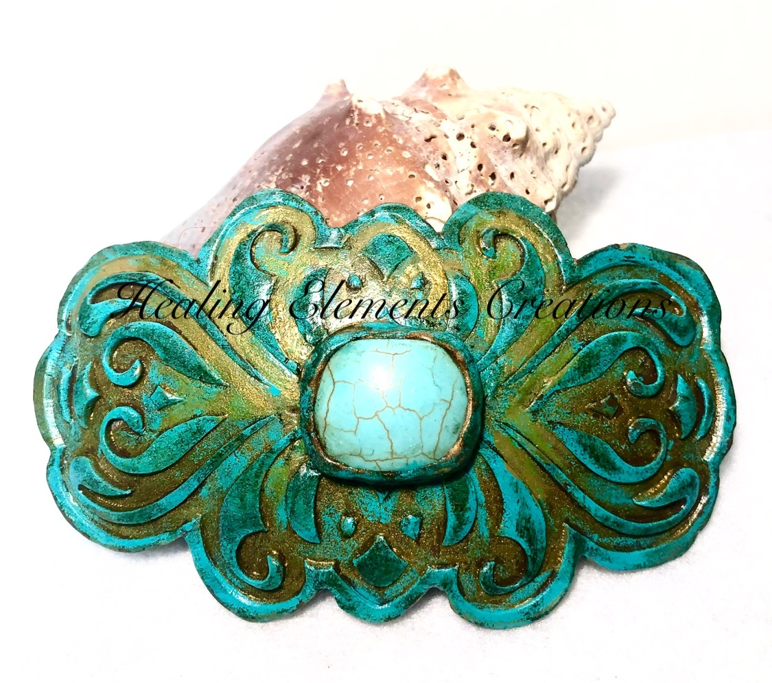 "Primary image for Handcrafted Polymer Clay Hair Barrette with 1"" Turquoise Gem Stone"