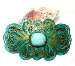 "Handcrafted Polymer Clay Hair Barrette with 1"" Turquoise Gem Stone  - £9.56 GBP"