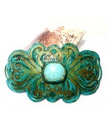 "Handcrafted Polymer Clay Hair Barrette with 1"" Turquoise Gem Stone  - £9.81 GBP"