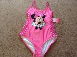 girls  minnie mouse disney  NWT swimsuit 1 pc pink polka dot xs 4-5 or l... - $10.35
