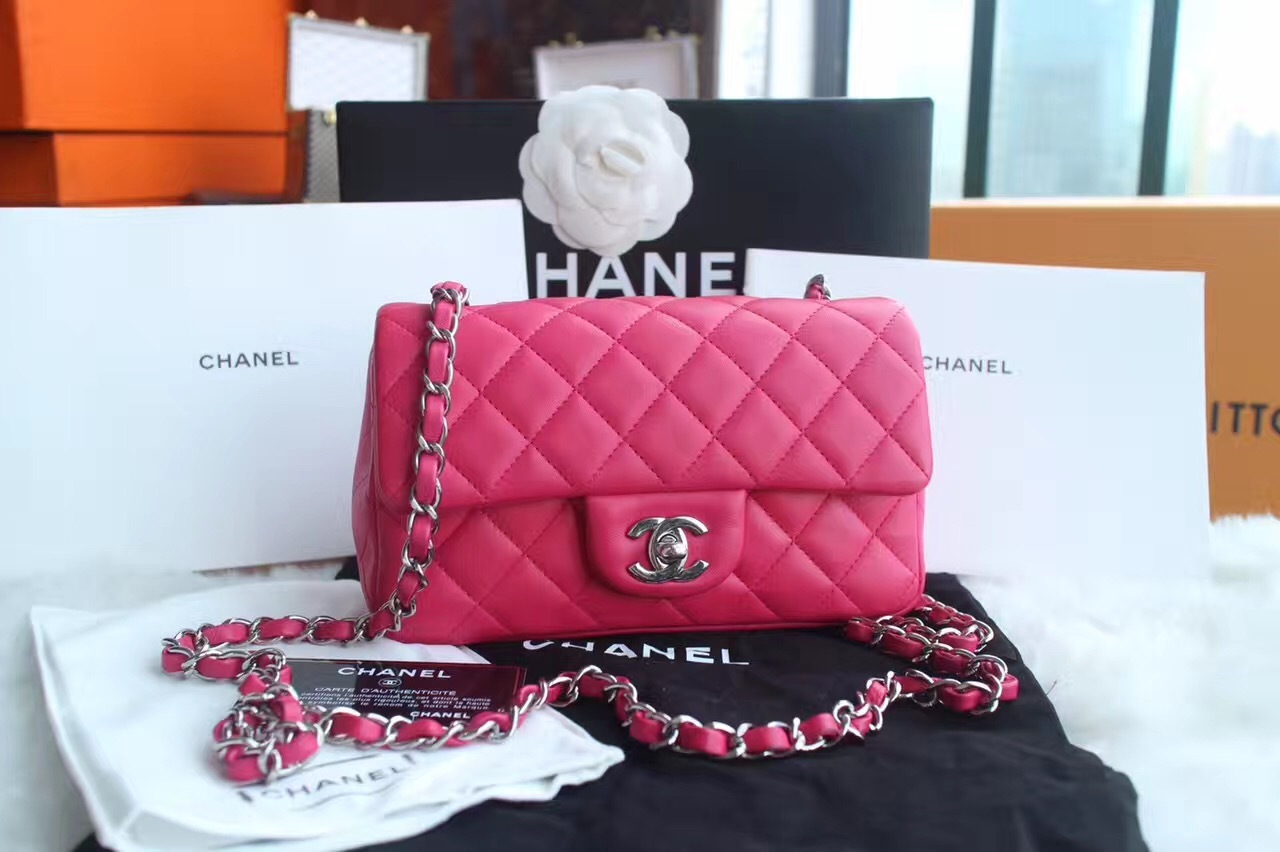 8d9a0fa03551 AUTHENTIC CHANEL PINK QUILTED LAMBSKIN LARGE RECTANGULAR MINI CLASSIC FLAP  BAG