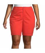 "St. John's Bay Women's Plus Mid Rise Bermuda Shorts Size 20W Red NEW 11.5"" - £19.56 GBP"
