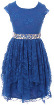 Flower Girl Dress Floral Lace Ruffle Layers Skirt Royal JKS 2095 - $29.69+
