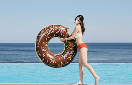 Swim About Large Donut Swim Ring Tube Pool Inflatable Floats for Adults (Brown) image 4