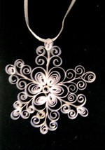 Hand Crafted Paper Quill Snowflake Ornament White New - $11.99