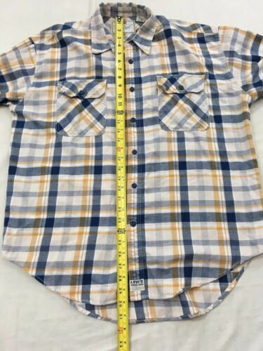 Levis Mens L Blue Yellow Plaid Hiking Camp Lightweight Cotton Flannel Shirt image 7
