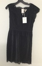 JOIE Lebanon Black Floral Lace Dress Sz L Cap Sleeve Lined Cocktail LBD NWT - $107.91