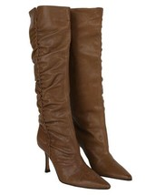 Jimmy Choo Tan Leather Ruched Detail Boots - Uk 6 - $608.67