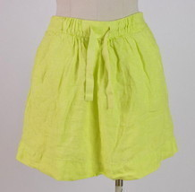 J.Crew Highlighter Neon Yellow Linen Drawstring Knee Length Skirt Pencil... - $18.80