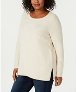 CHARTER CLUB Ivory Metallic Cotton Blend Pullover Side-Slit Knit Sweater... - $13.44