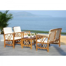 4pc Patio Furniture Set Wood Coffee Table and Chairs Outdoor Garden Lawn... - £535.91 GBP
