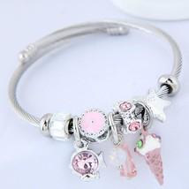 Women's Charm Bracelet Thick Chain Fish Ice Cream Ladies European Fashio... - $33.00