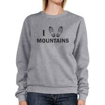 I Heart Mountains Grey Sweatshirt Unique Design Pullover Fleece - $20.99+