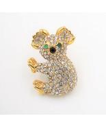 Koala Figural Brooch Pin Crystal Gold Tone - $19.78