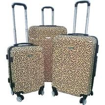 3Pcs Hardside Expandable Spinner Luggage Set Leopard Style Lockable Ligh... - $188.82