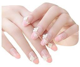 2 Boxes(48 Pieces) Wedding Lovely Style DIY 3D Design False Nails, Camellia