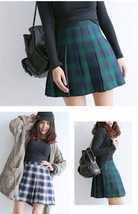 Women Girl Pleated Plaid Skirt School Style Pleated Plaid Skirt- Red Green, Plus image 3