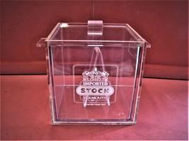 VINTAGE STOCK VERMOUTH 4 PIECE ICE BUCKET WITH TONGS PLEXIGLAS - $35.00
