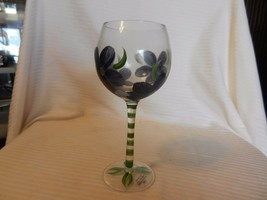 Hand Painted Wine Glass from Home Essentials Blue Flowers with Butterfly - $24.74