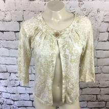 Eddie Bauer Womens Sz S Sweater Floral One-Button Cardigan 3/4 Sleeves C... - $11.88