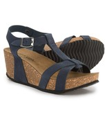 NIB Marina Luna Comfort Made in Italy T-Strap Wedge Nubuck Sandals Blue ... - $49.49