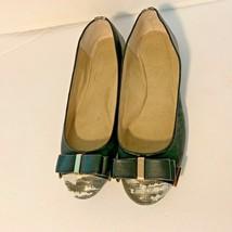 Jessica Simpson Womens Sz 8.5 M Bow Toe Flat Gray Black Ballet Shoes - $28.04
