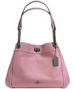 NWT COACH Edie Turnlock Shoulder Bag DUSTY ROSE red Pebbled Leather 3685... - $285.00