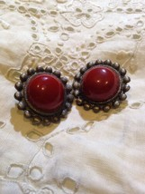 Vintage Pewter And Coral Glass Stine Button Clip On Earrings  - $24.75