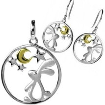 Love You To The Moon & Back Star Gazing Bunny Rabbit Earring & Necklace ... - $100.86