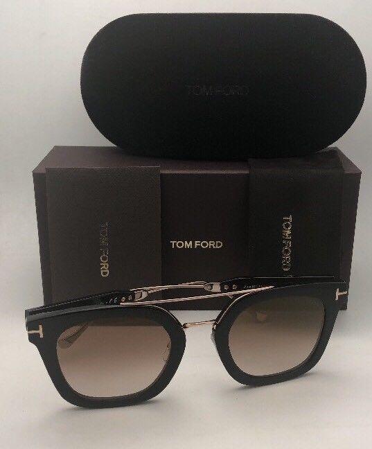 New TOM FORD Sunglasses ALEX-02 TF 541 01F 51-25 145 Black & Gold w/Brown+Mirror image 2