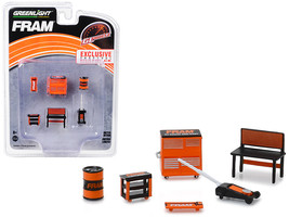 "Greenlight Muscle 6 piece Set Shop Tools ""FRAM Oil Filters\"" 1/64 by Greenlight - $12.98"