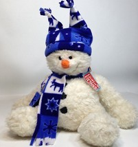 Gund Swoosh Snowman Plush wearing Hat & Scarf Deer Snowflake Design Stuf... - $29.99