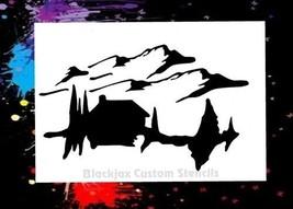 Rocky Mountain Cabin Airbrush Stencil,Template - $10.99