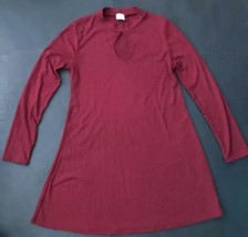 Wanna B Red Ribbed Tunic Dress Sexy Keyhole Neckline M Flared Edgy Trendy  - $13.85