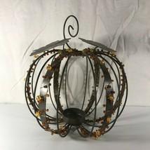 Beaded Metal Pumpkin Candle Votive Tealight Holder Thanksgiving Fall Autumn - $14.84