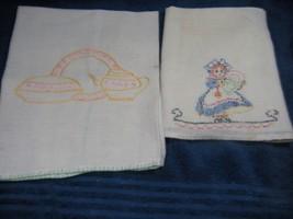 Mid Century Huck tea towels embroidered  linen 16X22 16X30  Girl & tea pot - $15.00