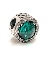 Authentic Pandora Radiant Hearts Sea Green Crystal Charm Clear CZ #79172... - $18.81